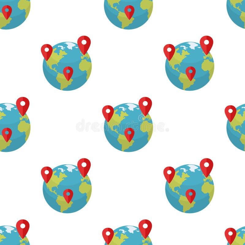 Globo della terra con il modello degli indicatori di posizione illustrazione di stock