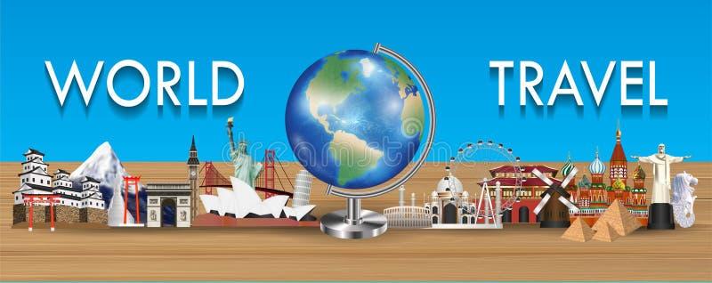 Globo della terra con il vettore del punto di riferimento di viaggio intorno al mondo illustrazione di stock