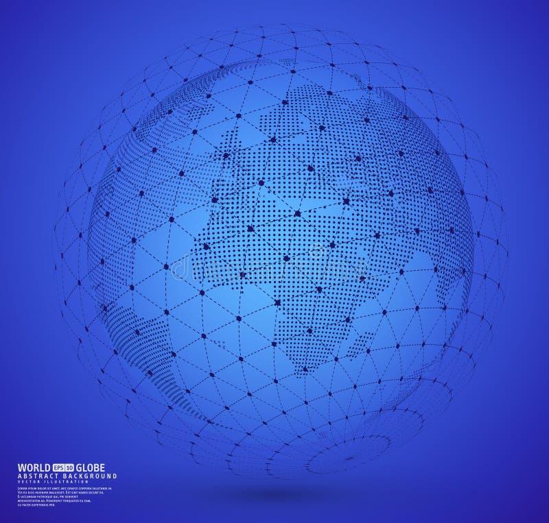 Globo della terra con la sfera della struttura del cavo illustrazione di stock