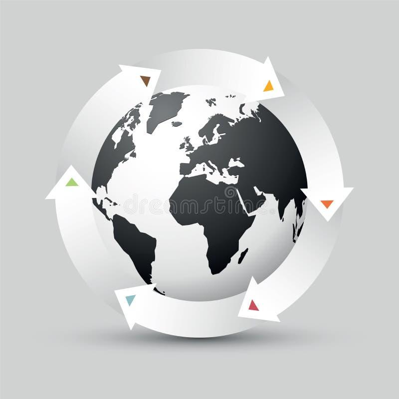 Globo della terra con le frecce colorate royalty illustrazione gratis