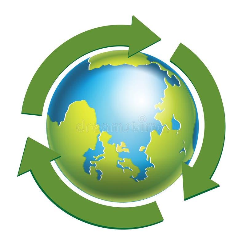 Globo della terra con le frecce verdi isolate illustrazione vettoriale