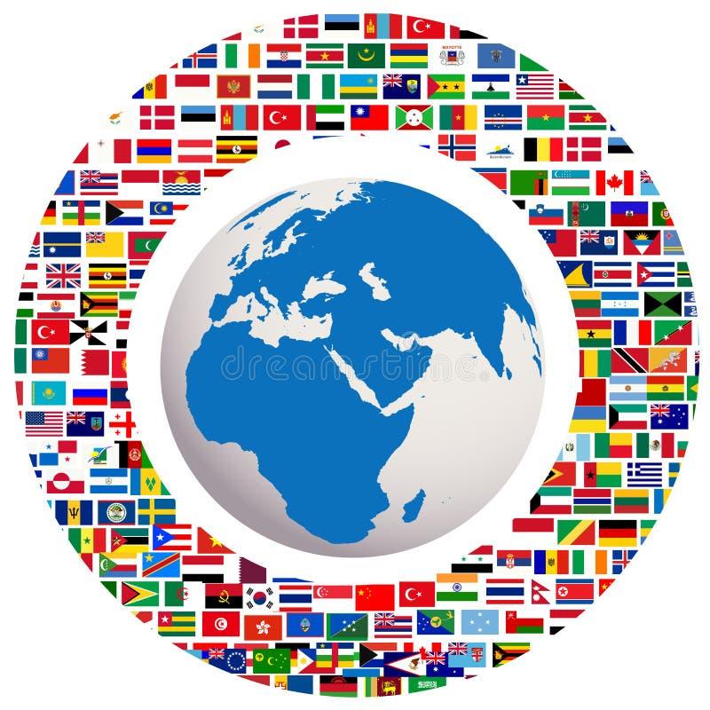 Globo della terra con tutte le bandierine illustrazione vettoriale