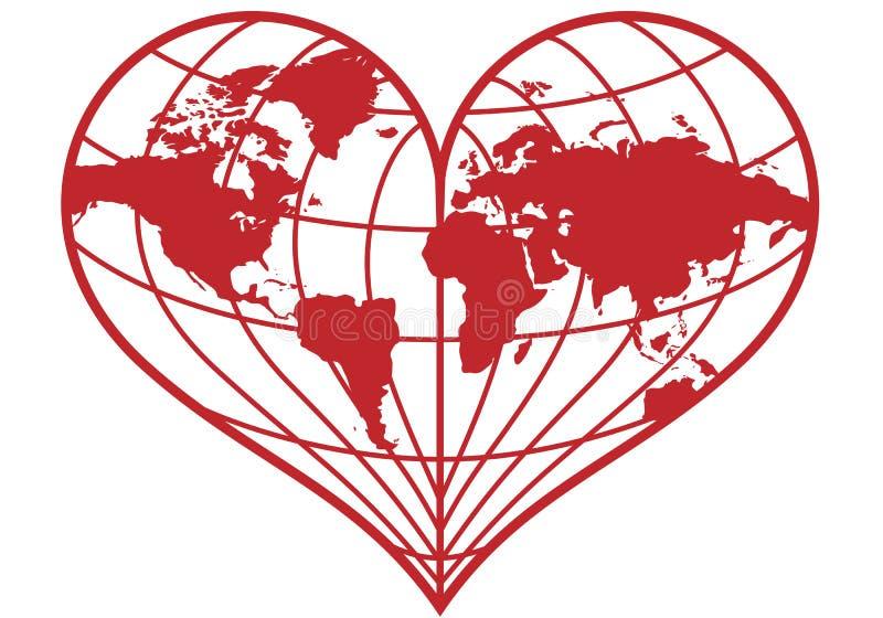 Globo della terra del cuore,   illustrazione vettoriale