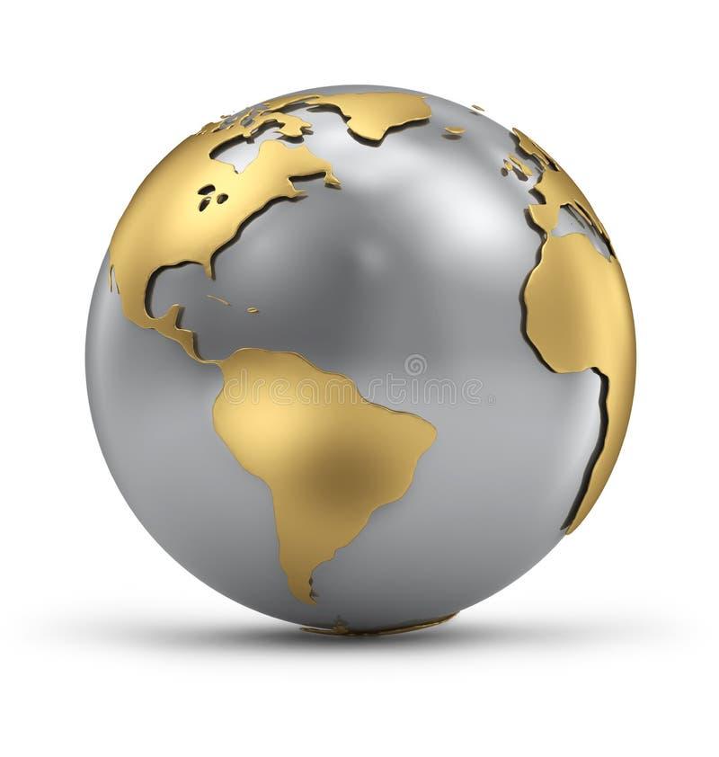 Globo della terra dell'argento e dell'oro con ombra illustrazione di stock