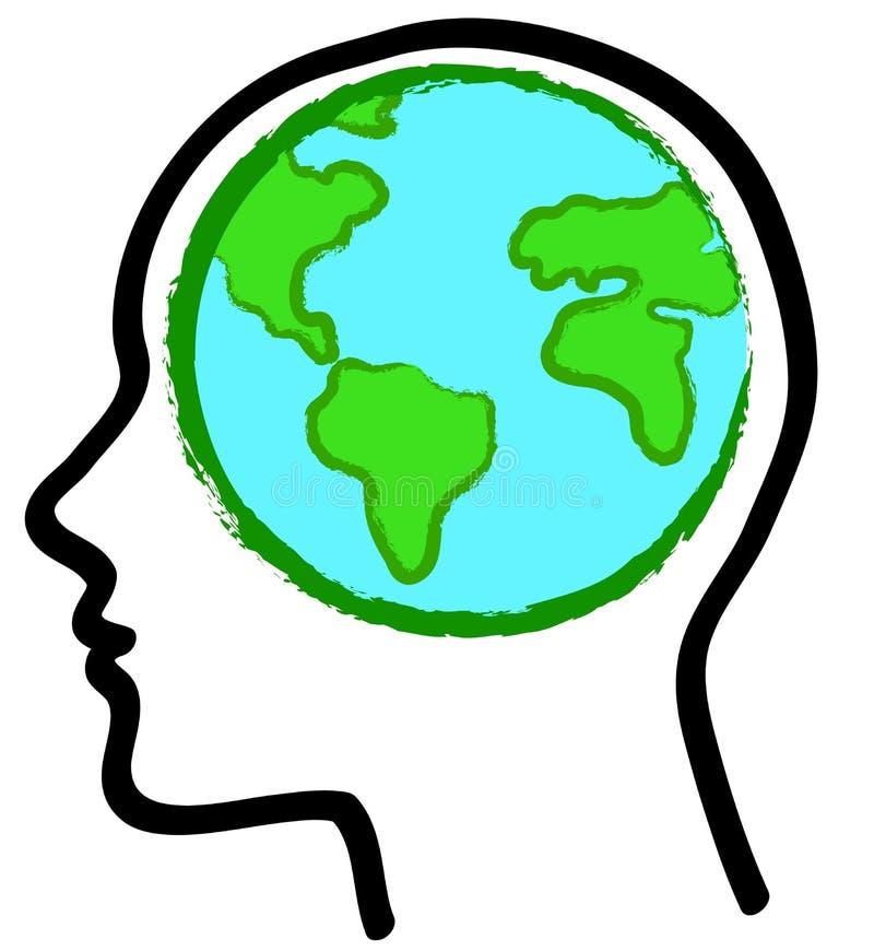 Globo della terra e della testa illustrazione di stock