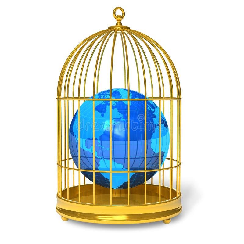 Globo della terra in gabbia dorata illustrazione di stock