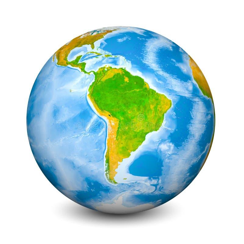 Globo della terra messo a fuoco sul Sudamerica Terre ed oceani topografici realistici con batimetria l'oggetto 3D ha isolato sopr fotografia stock