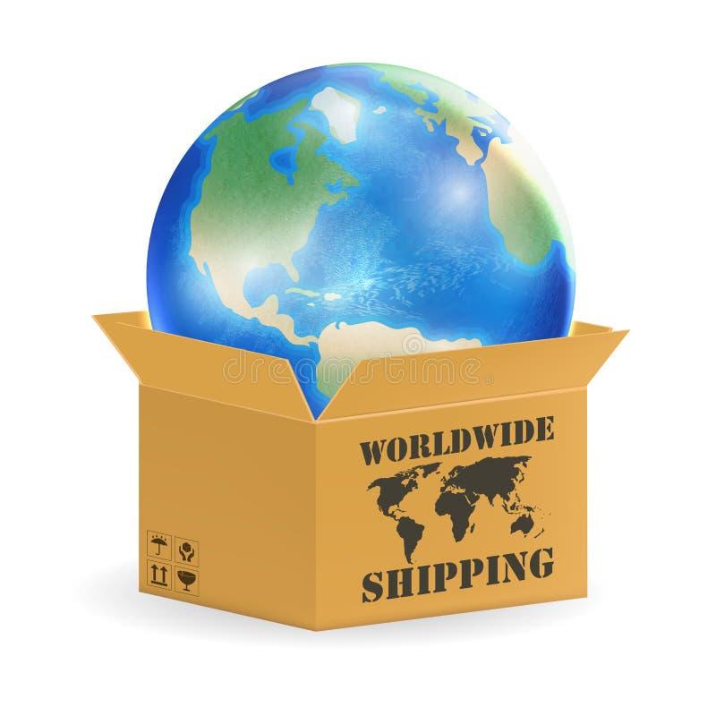 Globo della terra in scatola di spedizione mondiale del prodotto royalty illustrazione gratis