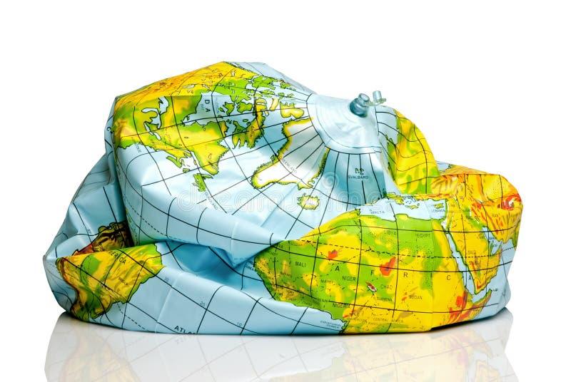Globo desinflado de la tierra del planeta fotografía de archivo