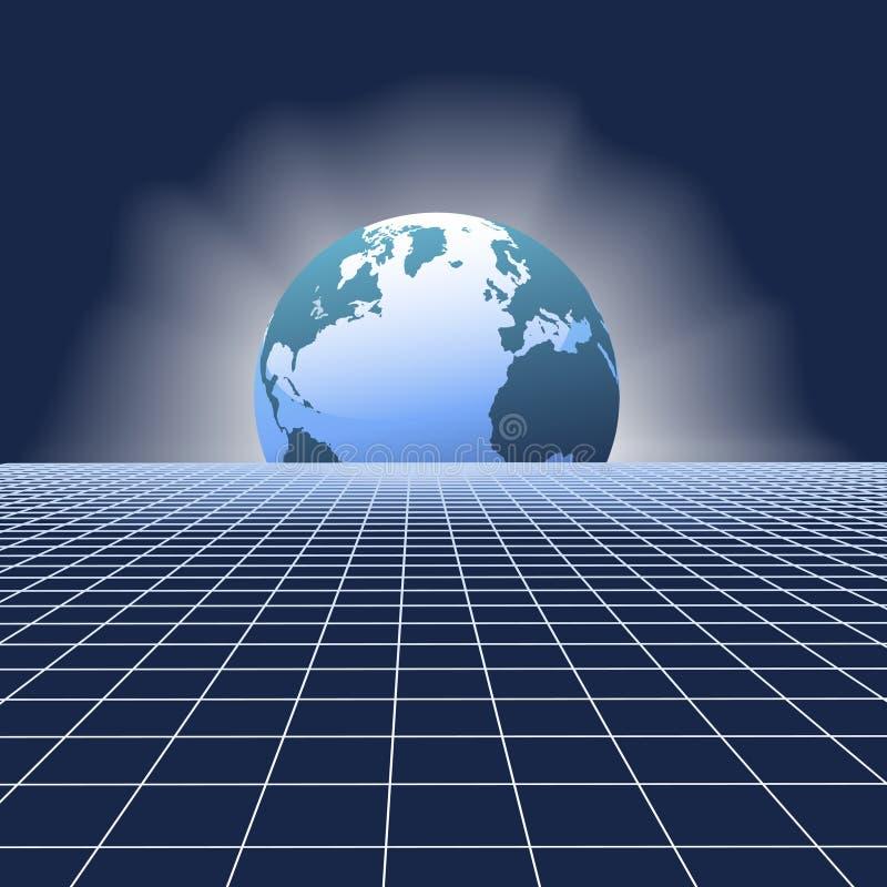 Globo di aumento della terra sopra la griglia della rete di comunicazioni