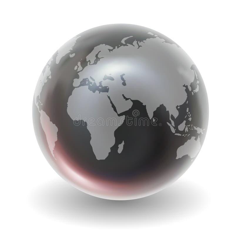 Globo di cristallo lucido della terra illustrazione di stock