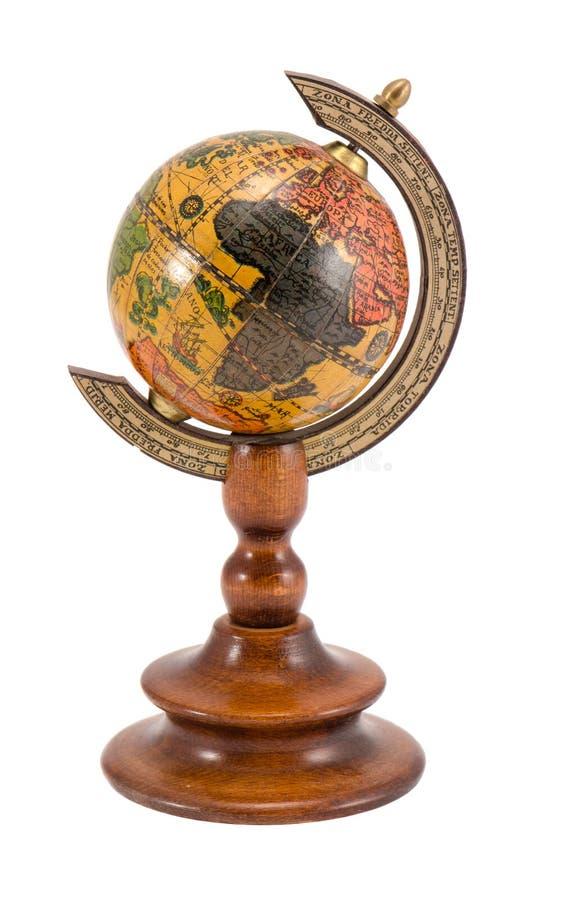 Globo di legno di vista dell'Europa Africa isolato su bianco immagini stock libere da diritti