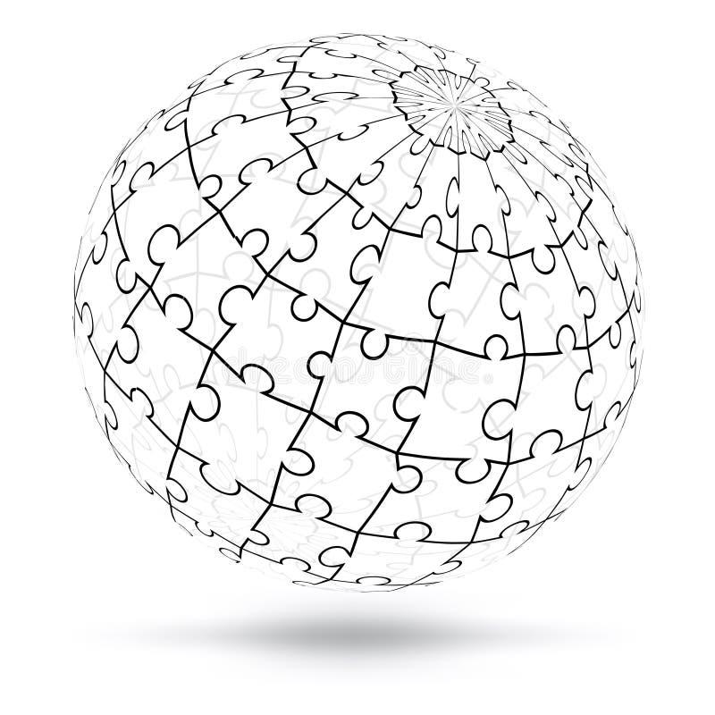 Globo di puzzle di vettore 3D royalty illustrazione gratis