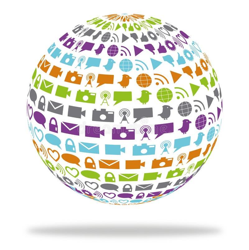 Globo di tecnologia sociale riempito di icone di media illustrazione vettoriale