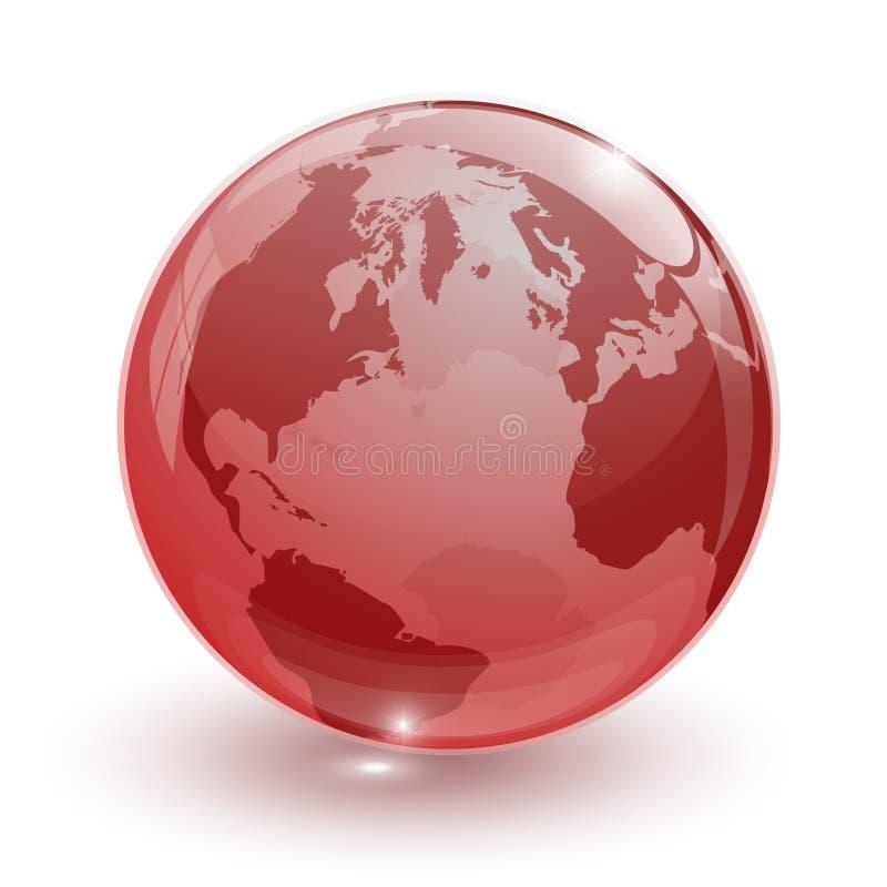 globo di vetro trasparente rosso della terra 3d isolato royalty illustrazione gratis