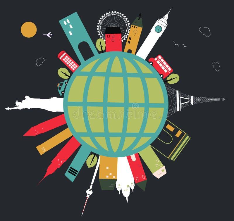 Globo di viaggio. illustrazione vettoriale