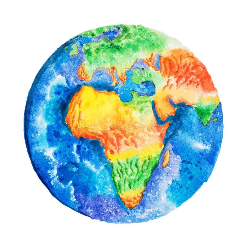 Globo Disegno dell'acquerello della carta in rilievo dell'Africa Vista a terra da spazio illustrazione vettoriale