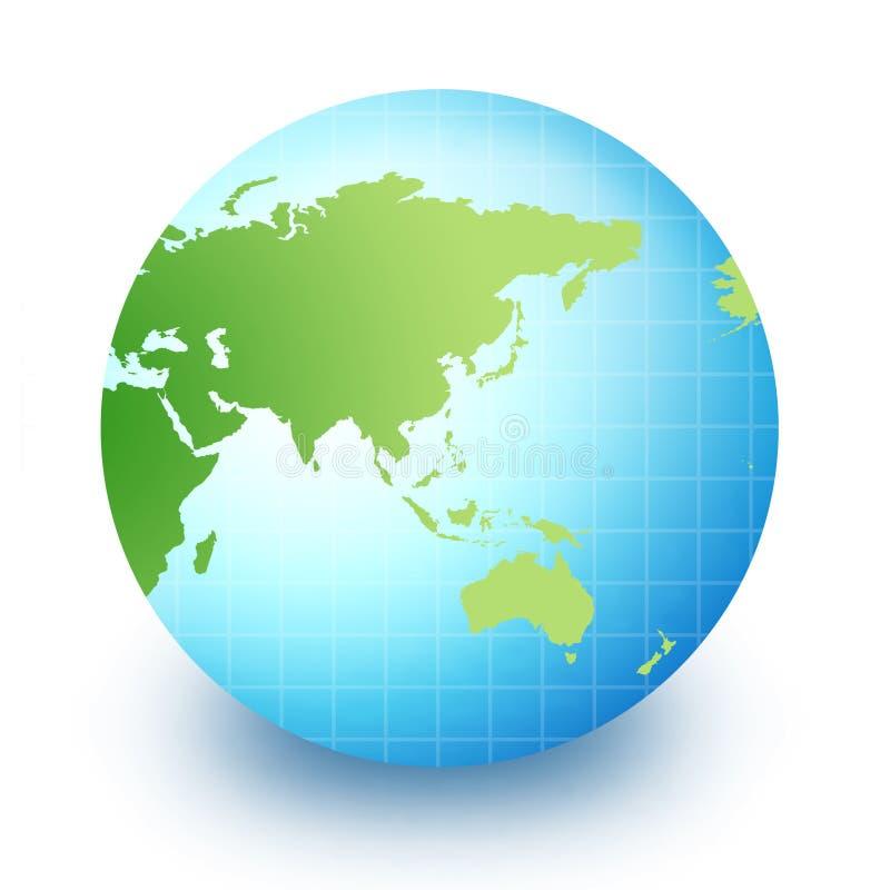 Globo do mundo - Ásia e Austrália ilustração do vetor
