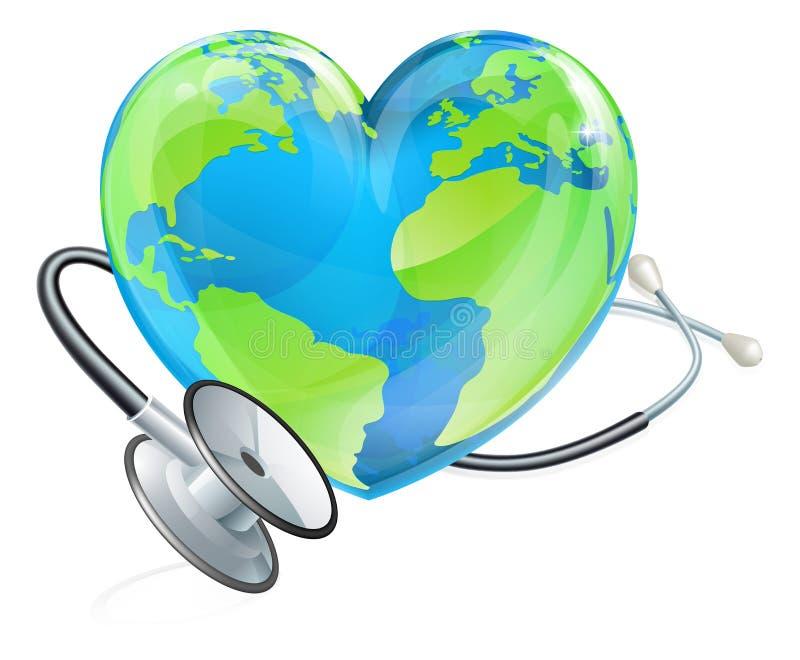 Globo do mundo da terra do coração do estetoscópio do conceito da saúde ilustração stock