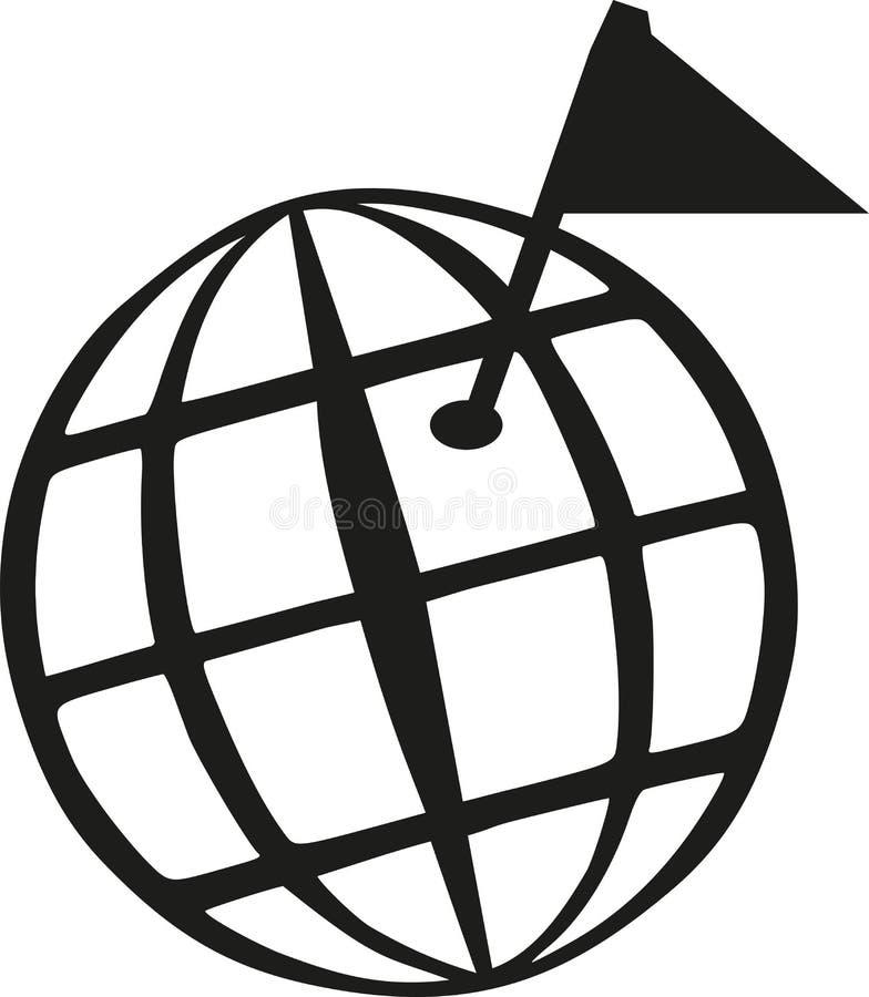 Globo do mundo de Geocaching com bandeira do objetivo ilustração do vetor