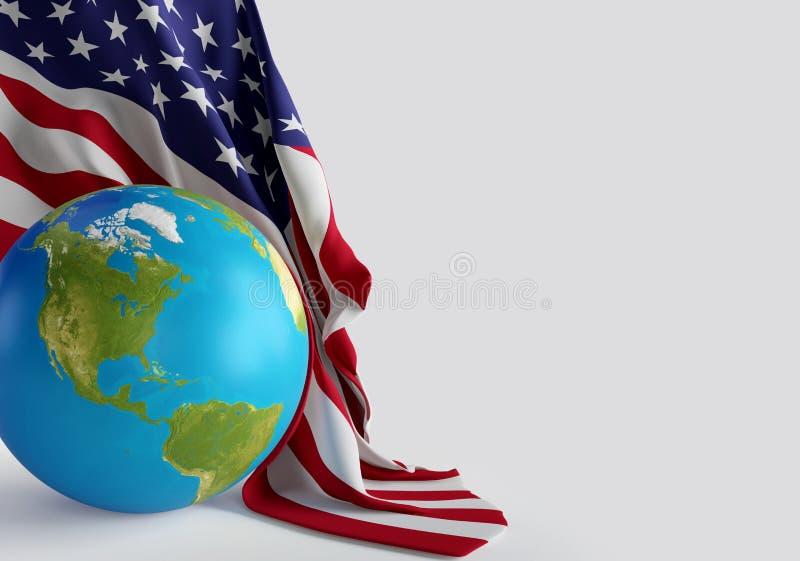Globo do mundo dos EUA Estados Unidos da América com bandeira americana 3d-i ilustração stock