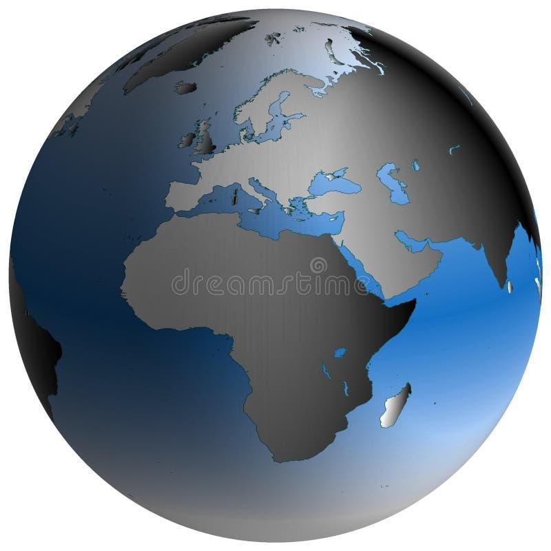 Globo do mundo: Europa-África, com oceanos azul-protegidos ilustração do vetor