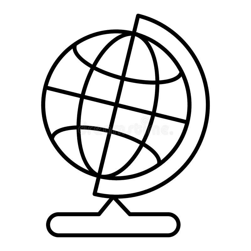 Globo do mundo na linha ícone do suporte Ícone do vetor isolado no branco estilo liso do esboço ilustração stock