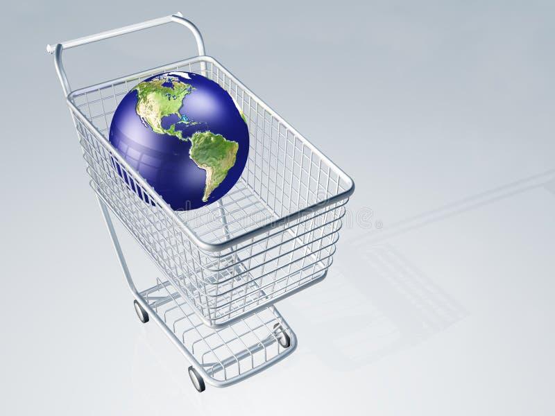 Globo do mundo no carro de compra ilustração stock