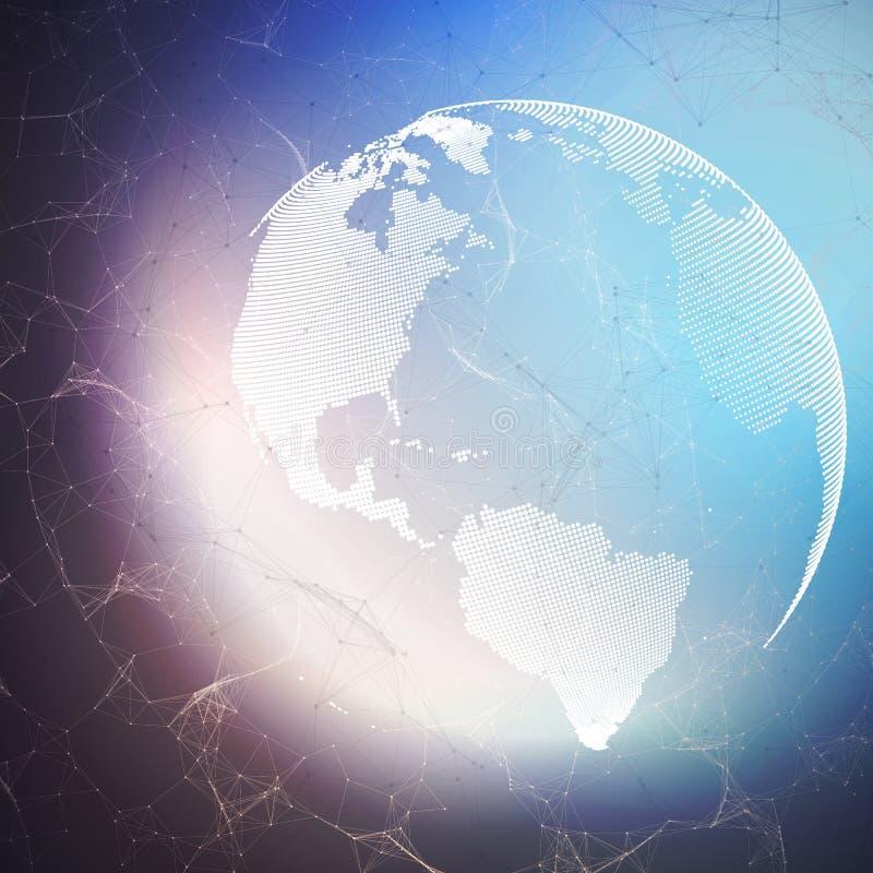 Globo do mundo no fundo escuro com linhas de conexão e pontos, textura linear poligonal Conexões de rede global ilustração royalty free