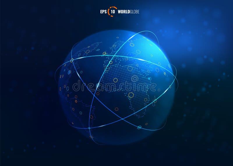 globo do mundo do vetor 3D com conexões a Internet ilustração stock