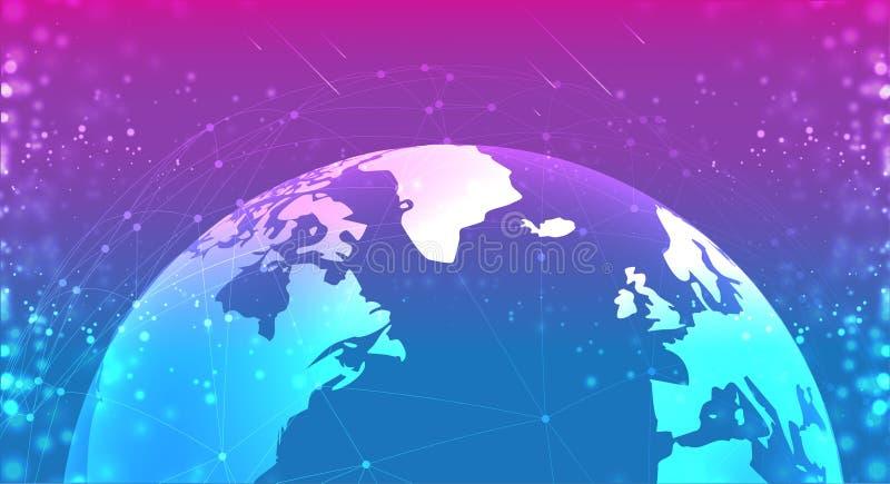 Globo do planeta da terra no azul roxo do espaço os sistemas das conexões alinham a composição em torno do conceito da terra ilustração stock