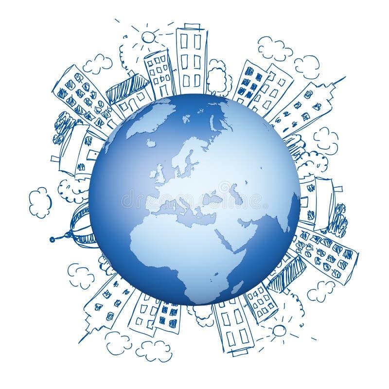 Globo do planeta da terra no fundo azul ilustração royalty free