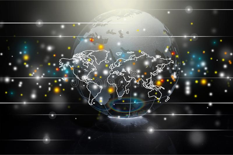 Globo do planeta da terra no fundo preto ilustração royalty free