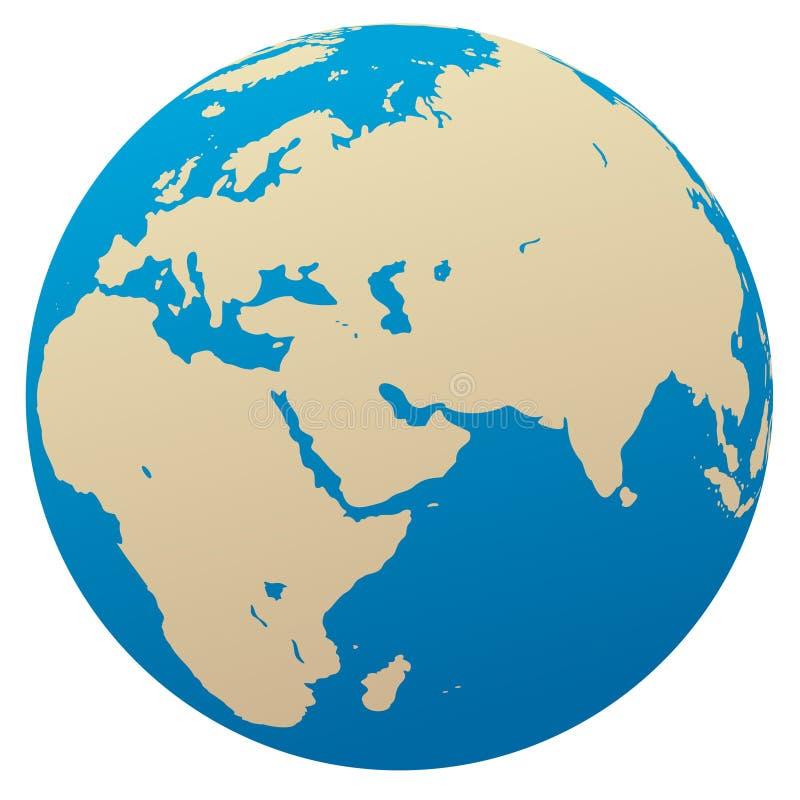 Globo do vetor/África, Eurasia ilustração royalty free