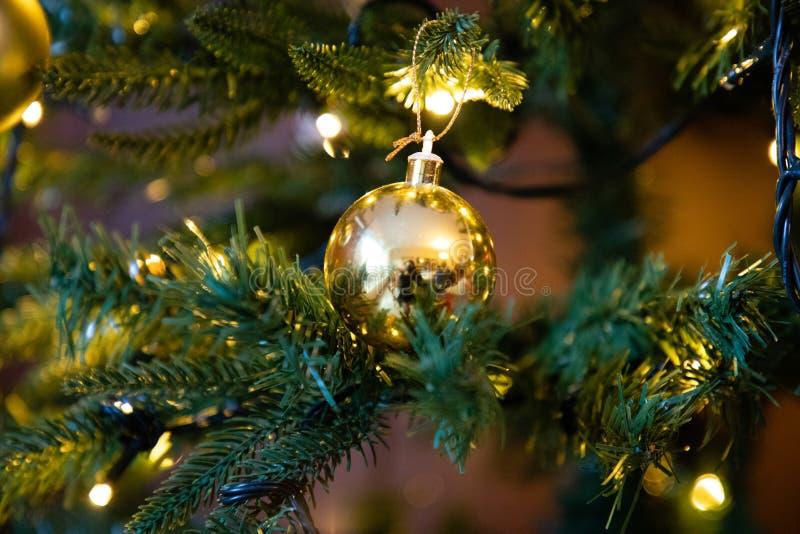 Globo dorato della decorazione sulla fine dell'albero di Natale su fotografie stock libere da diritti