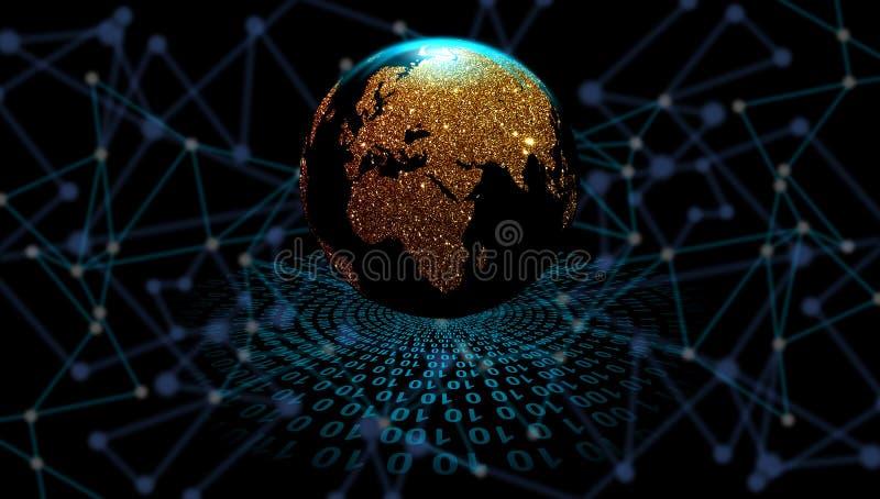 Globo dorato sui precedenti di tecnologia digitale, orbite di dati digitali Tecnologia di rete del mondo Comunicazione di tecnolo royalty illustrazione gratis