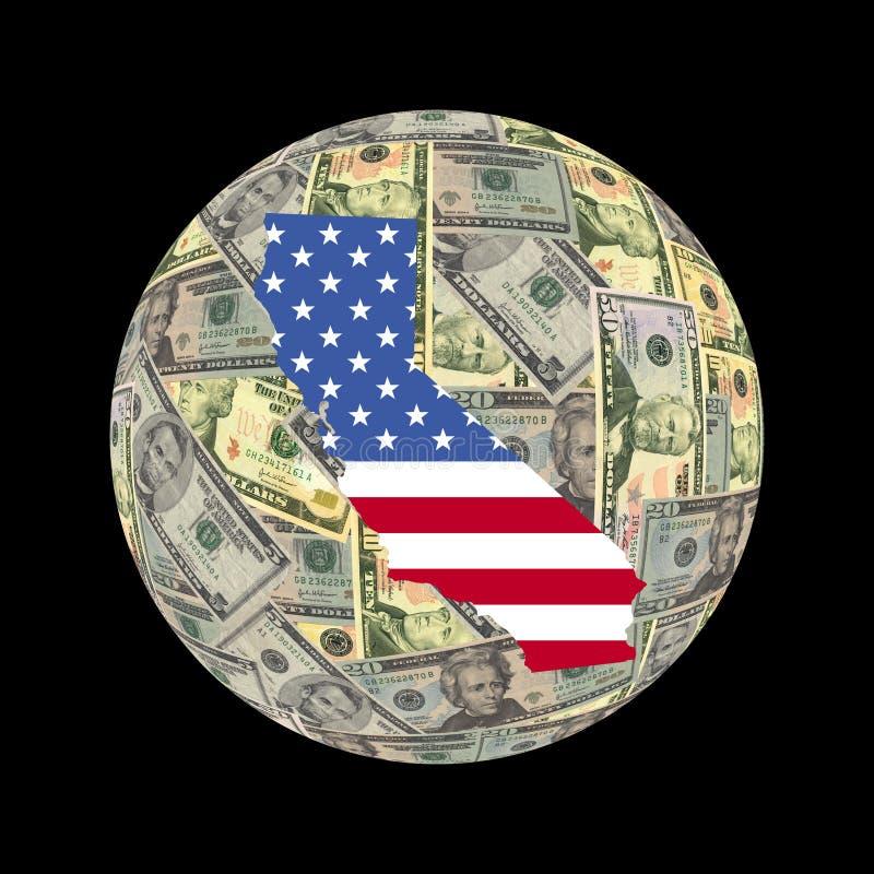Globo dos dólares do mapa de Califórnia ilustração stock