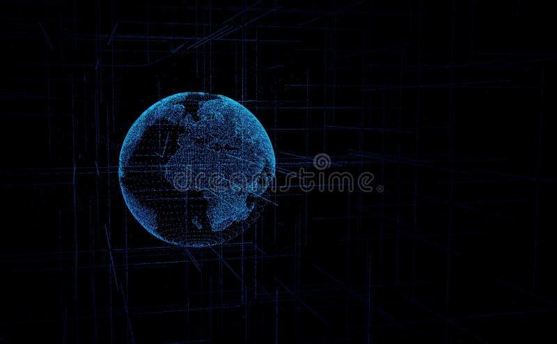 Globo dos dados de Digitas - ilustração abstrata da terra de cerco científica do planeta da rede de dados da tecnologia que trans ilustração stock