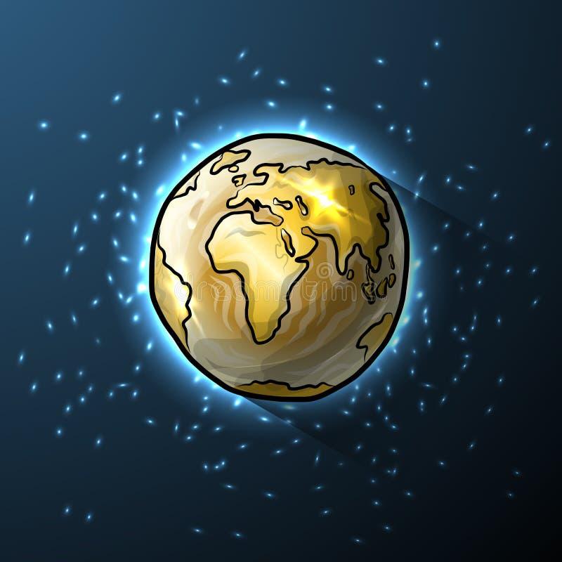 Globo dourado da garatuja no espaço ilustração royalty free