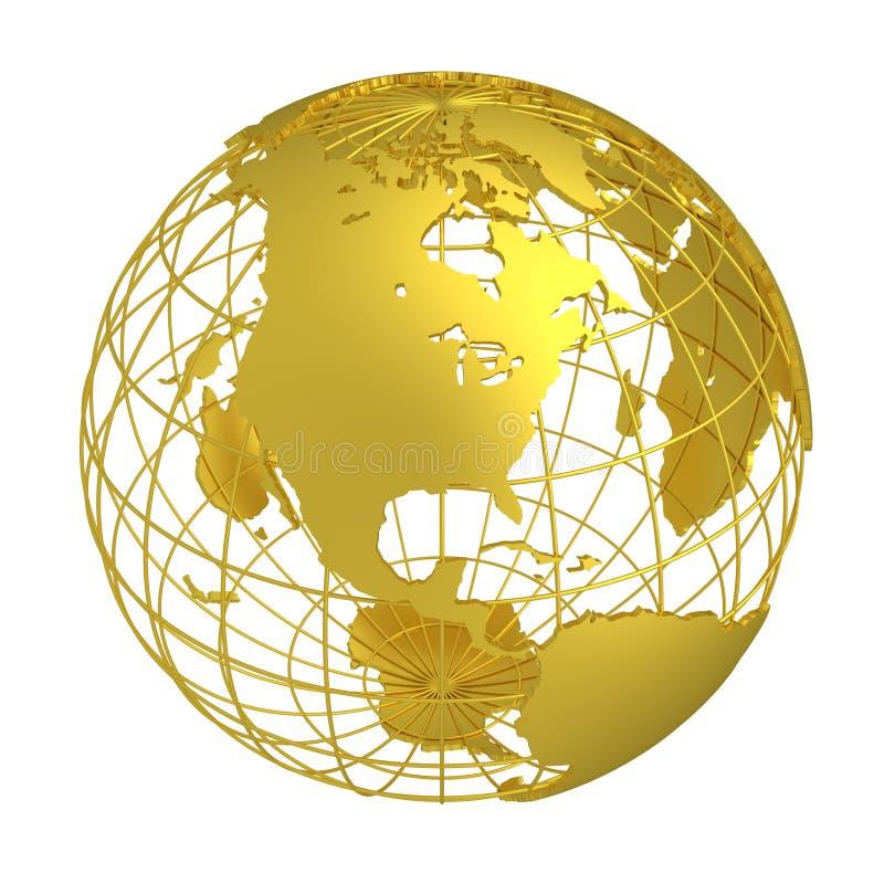 Globo dourado do planeta 3D da terra