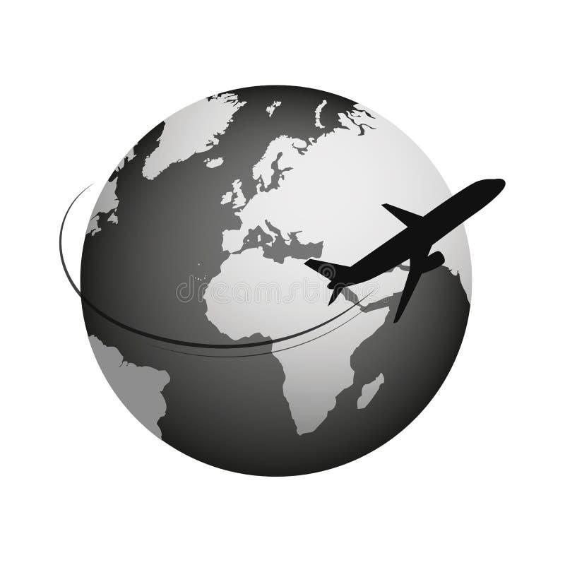 Globo e ícone plano do curso isolados no fundo branco ilustração do vetor