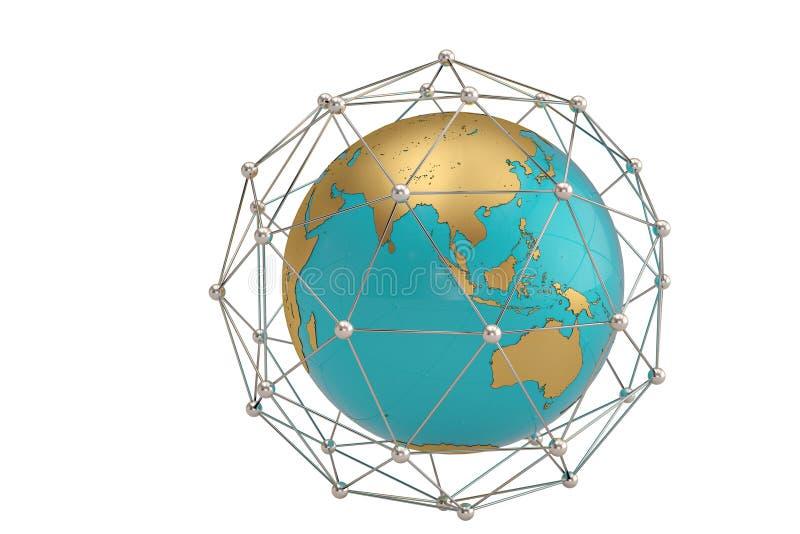 Globo e as moléculas na composição redonda do círculo illu 3d imagens de stock royalty free