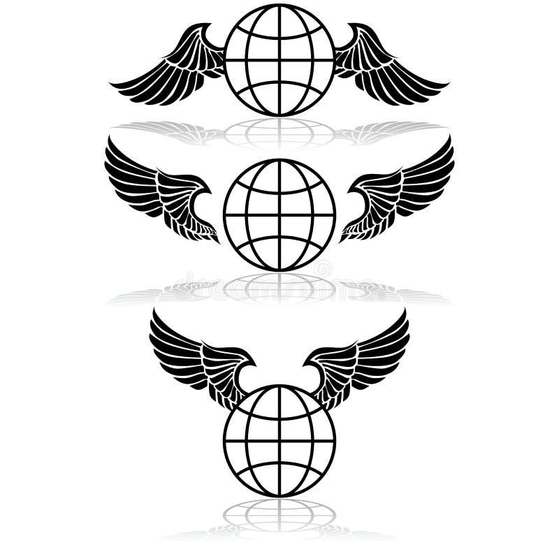 Globo e asas ilustração do vetor