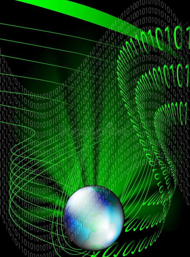 Globo e código binário ilustração do vetor