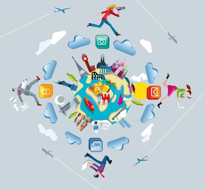 Globo e Crowdsourcing del mondo illustrazione vettoriale