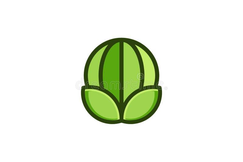 Globo e folha verdes Logo Designs Inspiration Isolated no fundo branco ilustração stock