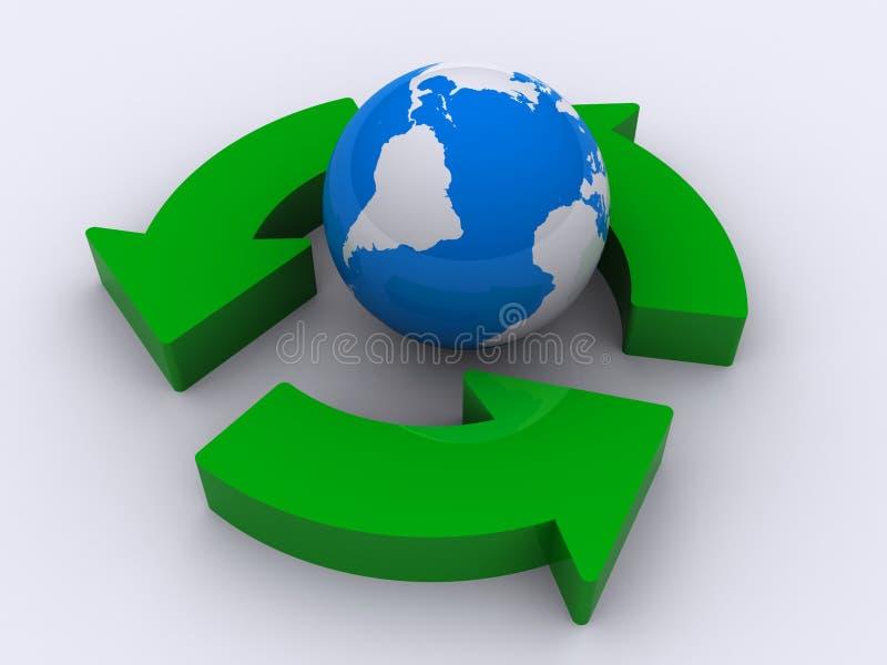 Globo e frecce verdi illustrazione vettoriale