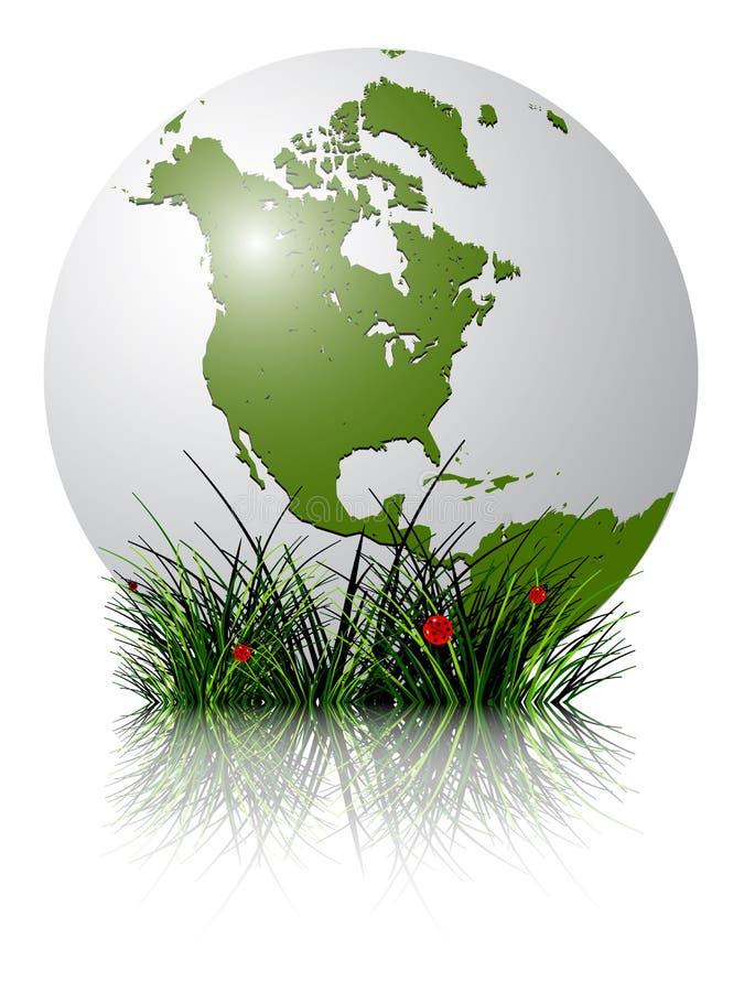 Globo e grama da terra refletidos ilustração stock
