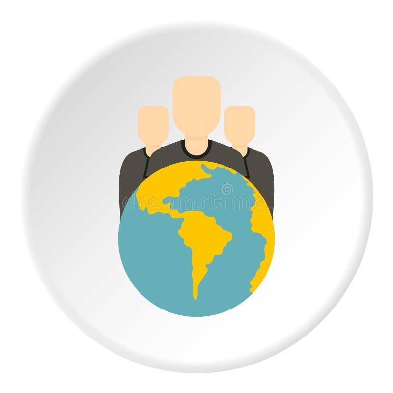 Globo e gruppo di persone il cerchio dell'icona illustrazione vettoriale