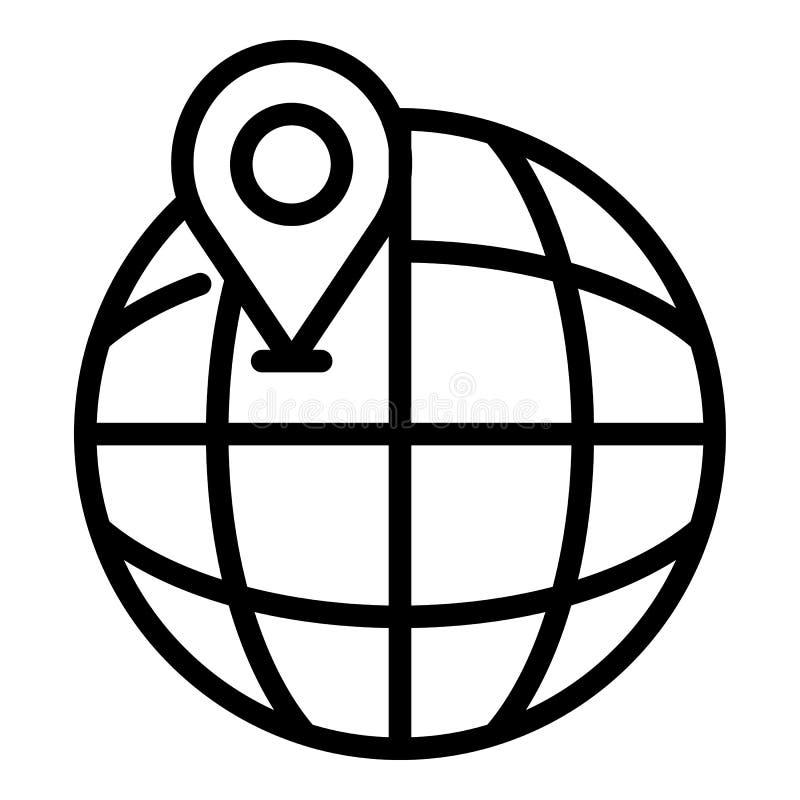 Globo e icono de la ubicación, estilo del esquema stock de ilustración